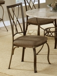 Brookside Powder Coated Metal 19.25''H Diamond Fossil Back Chair with Upholstered Seat - Set of 2 - Brown [4815-805-FS-HILL]