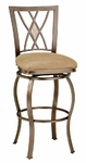 Brookside Powder Coated Metal 30'' Diamond Fossil Bar Height Stool with Beige Faux Suede Swivel Seat - Brown [4815-831-FS-HILL]
