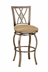 Brookside Powder Coated Metal 24'' Diamond Fossil Counter Height Stool with Beige Faux Suede Swivel Seat - Brown [4815-827-FS-HILL]