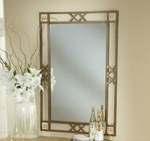 Brookside Powder Coated Metal 32''W x 46''H Mirror with Fossil Stone Accents - Brown [4815-890-FS-HILL]