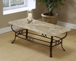 Brookside Powder Coated Metal 48''W x 18''H Fossil Stone Top Coffee Table - Brown [4815OTC-FS-HILL]