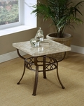 Brookside Powder Coated Metal 24''W x 21.5''H Fossil Stone Top End Table - Brown [4815OTE-FS-HILL]