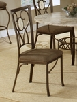 Brookside Powder Coated Metal 18.75''H Oval Fossil Back Dining Chair with Upholstered Seat - Set of 2 - Brown [4815-802-FS-HILL]