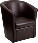 Brown Leather Barrel-Shaped Guest Chair [GO-S-01A-BN-FULL-GG]