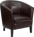 Brown Leather Barrel Shaped Guest Chair [GO-S-11-BN-BARREL-GG]