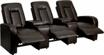 Eclipse Series 3-Seat Reclining Brown Leather Theater Seating Unit with Cup Holders [BT-70259-3-BRN-GG]