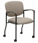 Brylee™ Guest Chair with Caters and Waterfall Seat Front - Black Frame [BR32C-E3-FS-UC]