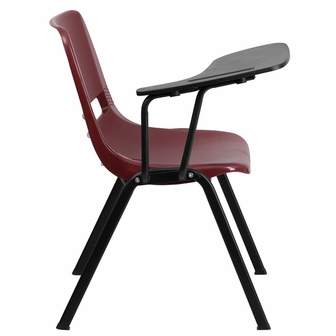 Burgundy Ergonomic Shell Chair With Right Handed Flip Up Tablet Arm RUT EO1
