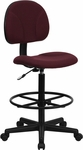 Burgundy Fabric Ergonomic Drafting Chair (Adjustable Range 22.5''-27''H or 26''-30.5''H) [BT-659-BY-GG]