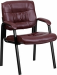 Burgundy Leather Executive Side Chair with Black Frame Finish [BT-1404-BURG-GG]