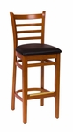 Burlington Cherry Wood Ladder Back Barstool - Vinyl Seat [LWB101CHBLV-BFMS]