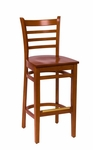 Burlington Cherry Wood Ladder Back Barstool - Wood Seat [LWB101CHCHW-BFMS]