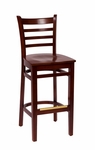 Burlington Mahogany Wood Ladder Back Barstool - Wood Seat [LWB101MHMHW-BFMS]