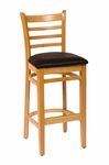 Burlington Natural Wood Ladder Back Barstool - Vinyl Seat [LWB101NTBLV-BFMS]
