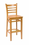 Burlington Natural Wood Ladder Back Barstool - Wood Seat [LWB101NTNTW-BFMS]