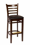 Burlington Walnut Wood Ladder Back Barstool - Vinyl Seat [LWB101WABLV-BFMS]