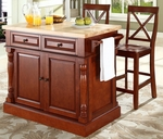 Butcher Block Top Kitchen Island in Cherry Finish with 24'' Cherry X-Back Stools [KF300063CH-FS-CRO]