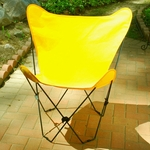 Folding Butterfly Chair with Black Steel Frame and Cotton Cover - Sunny Gold [405353-FS-ALG]