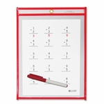 C-Line Dry Erase Pocket - Reusable - 9'' x 12'' - 30/Box - Red [CLI40814-FS-SP]