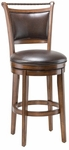 Calais 30'' Bar Height Stool with Bark Brown Vinyl Swivel Seat - Distressed Medium Brown Cherry [4298-830S-FS-HILL]