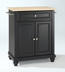 Cambridge Natural Wood Top Portable Kitchen Island [KF30021DBK-FS-CRO]