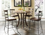 Cameron 5 Piece Dining Set with Round Counter Height Table and 4 Ladder Back Stools - Chestnut Brown [4671CTBWS5-FS-HILL]