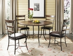 Cameron 5 Piece Dining Set with Metal Base Round Wood Table and 4 Ladder Back Chairs - Chestnut Brown [4671DTBC5-FS-HILL]