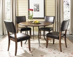 Cameron 5 Piece Dining Set with Metal Base Round Wood Table and 4 Parson Chairs - Chestnut Brown [4671DTBC4-FS-HILL]