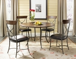 Cameron 5 Piece Dining Set with Metal Base Round Wood Table and 4 ''X'' Back Chairs - Chestnut Brown [4671DTBC2-FS-HILL]