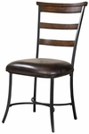 Cameron Metal 19''H Ladder Back Dining Chair with Brown Vinyl Seat - Set of 2 - Charcoal Gray and Chestnut Brown [4671-805-FS-HILL]