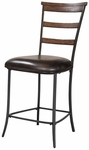 Cameron Metal Counter Height Stool with Brown Vinyl Seat - Set of 2 - Charcoal Gray and Chestnut Brown [4671-825-FS-HILL]