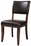 Cameron Metal 19.5''H Parson Chair with Brown Vinyl Seat - Set of 2 - Charcoal Gray and Chestnut Brown [4671-804-FS-HILL]