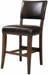 Cameron Wood Counter Height Parson Stool with Brown Vinyl Seat - Set of 2 - Charcoal Gray and Chestnut Brown [4671-824-FS-HILL]