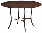 Cameron Wood and Metal 48'' Diameter Round Dining Table - Chestnut Brown [4671DTBW-FS-HILL]
