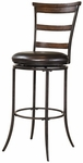 Cameron Metal Ladder back 30'' Bar Height Stool with Brown Faux Leather Swivel Seat - Charcoal Gray and Chestnut Brown [4671-832-FS-HILL]