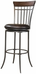 Cameron Metal Spoke Back 26'' Counter Height Stool with Brown Faux Leather Swivel Seat - Charcoal Gray and Chestnut Brown [4671-827-FS-HILL]