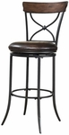 Cameron Metal ''X'' Back 30'' Bar Height Stool with Brown Faux Leather Swivel Seat - Charcoal Gray and Chestnut Brown [4671-830-FS-HILL]