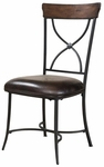 Cameron Metal ''X'' Back 19''H Dining Chair with Brown Vinyl Seat - Set of 2 - Charcoal Gray and Chestnut Brown [4671-802-FS-HILL]