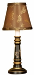 Miniature Elegance Candle with Grapevine 11.75''H Lamp with Brown Laurel Fabric Shade - Black and Gold [10M905-FS-PAS]
