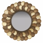 Capiz Shell 32''H Wall Mirror - Brown and Gold [2635-FS-PAS]