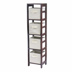 Capri 4-Tier Shelf with Beige Baskets [92841-FS-WWT]