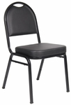 Caressoft™ and Black Powder Coated Steel Frame Banquet Chair - Set of 4 - Black [B1500-CS-BOSS]
