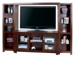 kathy ireland Home™ Carlton Collection 98'' Entertainment Wall Combination -Bourbon [CN360-CN970-CN491BR-FS-KIMF]