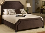 Carlyle Upholstered Bed Set with Rails and Nail Head Trim - King - Chocolate [1554BKRC-FS-HILL]