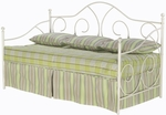 Caroline Scrolled Metal Daybed with Link Spring - White [B10198-FS-FBG]