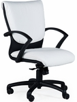 Carrara 300 lb. Capacity Low Back Swivel Chair with Black Poly Arms - Leather Upholstery [92D10-LEA-FS-LZBF]