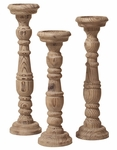 Carved Natural Wood Candle Holders - Set of 3 [37079-FS-HEC]