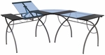 Catalina L Shaped Writing Desk and Steel Workcenter with Adjustable Angle Top - Pewter [10080-FS-SDI]