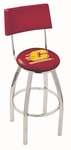 Central Michigan University 25'' Chrome Finish Swivel Counter Height Stool with Cushioned Back [L8C425CENMIC-FS-HOB]