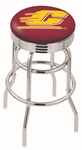 Central Michigan University 25'' Chrome Finish Double Ring Swivel Backless Counter Height Stool with Ribbed Accent Ring [L7C3C25CENMIC-FS-HOB]